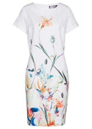 Sukienka bonprix biały z kolorowym nadrukiem