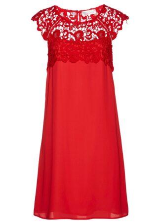 Sukienka szyfonowa z koronką bonprix czerwony sygnałowy