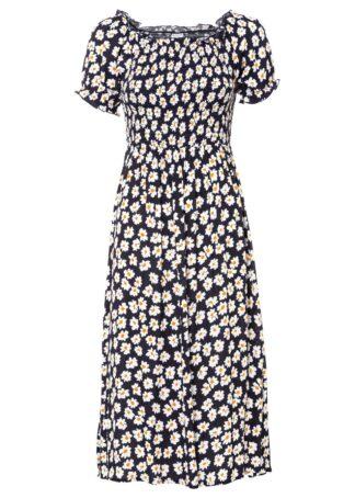 Sukienka z nadrukiem i przeszyciem cienkimi gumkami bonprix ciemnoniebieski w kwiaty