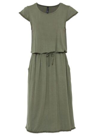 Sukienka midi z dżerseju z przyjaznej dla środowiska wiskozy bonprix oliwkowy