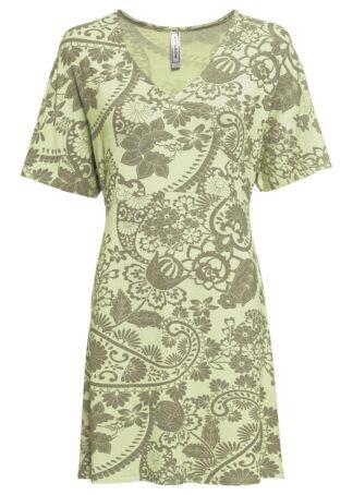 Sukienka shirtowa z dekoltem w serek bonprix oliwkowy wzorzysty