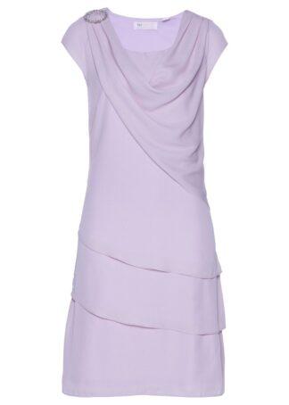 Sukienka szyfonowa w optyce warstwowej bonprix dymny bez