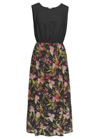 Sukienka z krepy bonprix czarny w kwiaty
