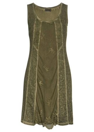"""Sukienka z dżerseju z efektem """"used look"""" bonprix zielony khaki """"used"""""""