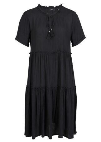 Sukienka kaftanowa z kreszowanego materiału bonprix czarny