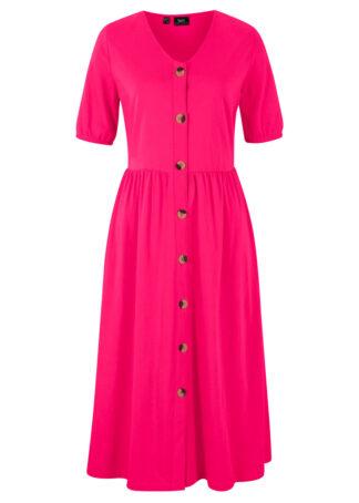 Sukienka bawełniana z plisą guzikową bonprix różowy magenta