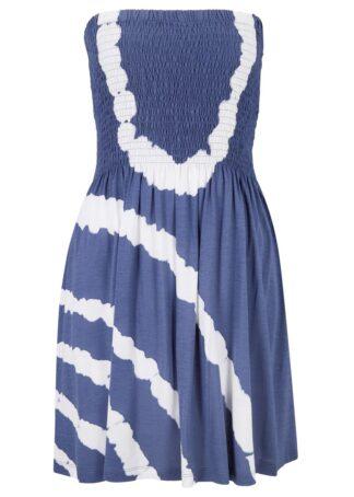 Sukienka plażowa bandeau bonprix ciemnoniebiesko-biały batikowy