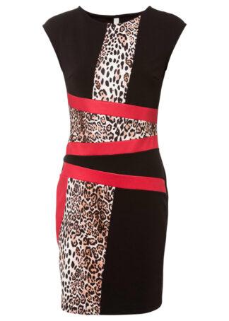 Sukienka ołówkowa w cętki leoparda bonprix czarno-czerwony