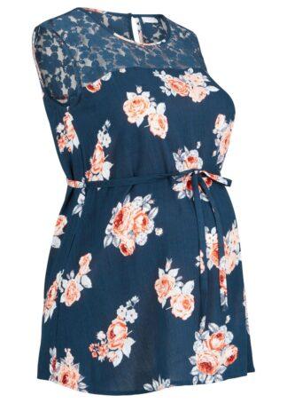 Bluzka ciążowa z koronką bonprix ciemnoniebieski w kwiaty