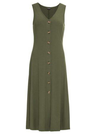 Letnia sukienka z guzikami bonprix ciemny khaki
