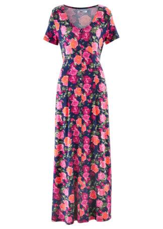 Długa sukienka shirtowa z krótkim rękawem bonprix niebieski w kwiaty
