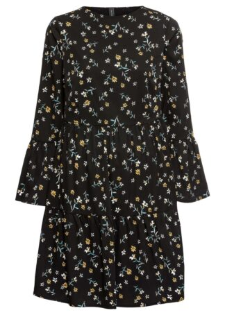 Sukienka z falbanami bonprix czarny w kwiaty