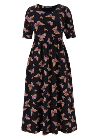 Sukienka z dżerseju z kieszeniami bonprix czarny