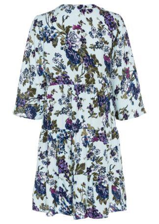 Sukienka z krótką plisą guzikową bonprix jasnoniebiesko-niebiesko-biało-lila w kwiaty