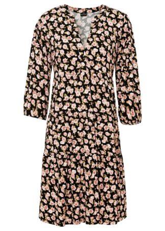 Sukienka tunikowa z przyjaznej dla środowiska wiskozy bonprix czarny w kwiaty