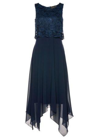 Sukienka szyfonowa z koronką bonprix ciemnoniebieski