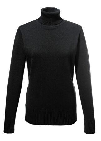 Sweter basic z golfem bonprix czarny