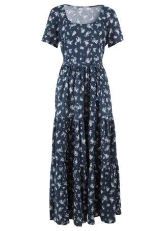 Sukienka z krótkim rękawem bonprix ciemnoniebieski w kwiaty