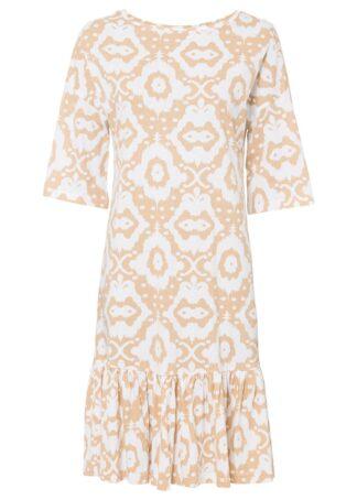 Sukienka shirtowa z falbaną bonprix latte macchiato - biały w deseń paisley