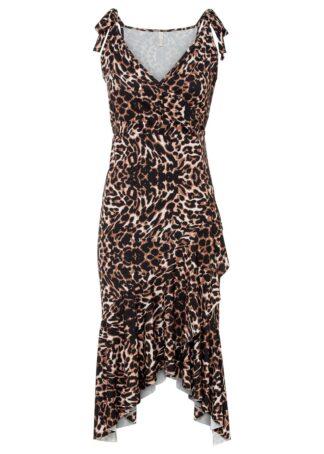 Sukienka z dłuższymi bokami bonprix w cętki leoparda