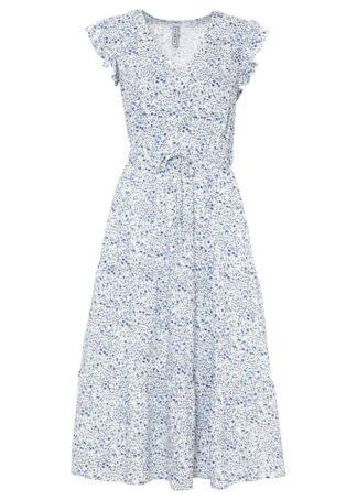 Sukienka midi z rękawami z falbanami z przyjaznej dla środowiska wiskozy bonprix biało-niebieski Chagall w kwiaty