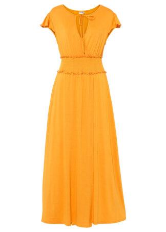 Sukienka z dżerseju z przeszyciem cienkimi gumkami bonprix żółty pomarańczowy