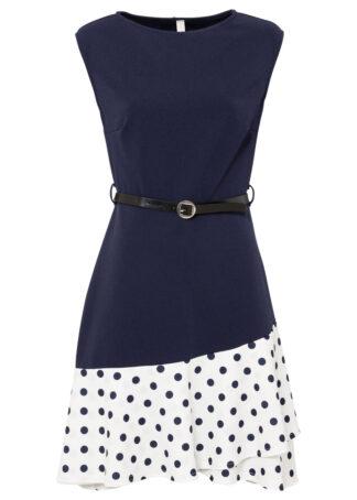 Sukienka z paskiem (2 części) bonprix ciemnoniebiesko-biel wełny w kropki