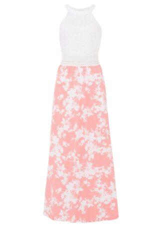 Długa sukienka z kwiatowym nadrukiem i koronką bonprix różowo-biały w kwiaty