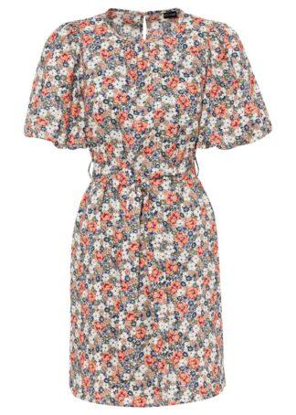 Sukienka z wiązanym paskiem bonprix w kolorowe kwiaty