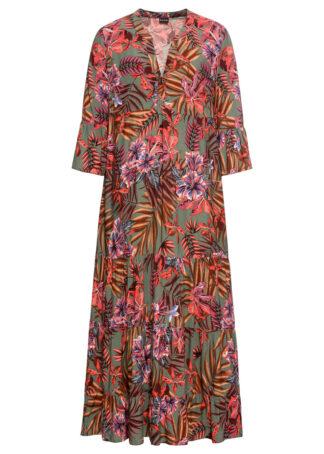 Długa sukienka z nadrukiem bonprix oliwkowo-czerwony w kwiaty