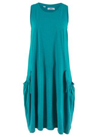 Sukienka bawełniana z dżerseju z kieszeniami bonprix kobaltowo-turkusowy