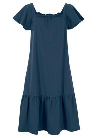 Sukienka z dżerseju z ozdobnym elementem w dekolcie i rękawami motylkowymi