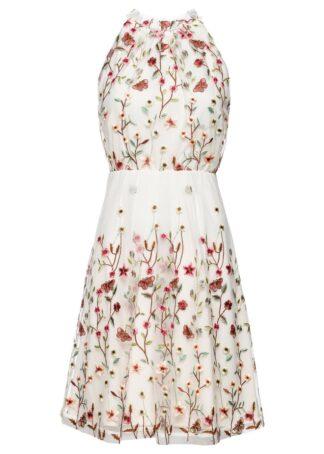 Sukienka z koronką bonprix kremowy w kwiaty