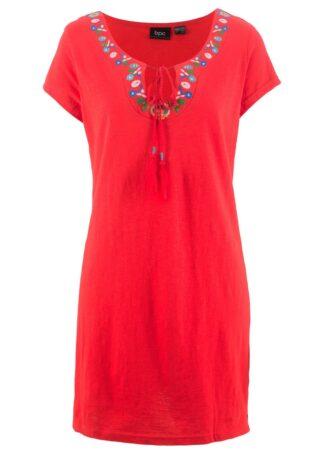 Sukienka z dżerseju z fantazyjnej przędzy bonprix truskawkowy