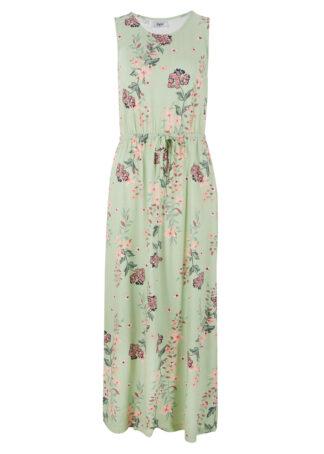 Długa sukienka w kwiaty bonprix kremowy zielony