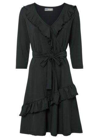 Sukienka kopertowa z wiązanym paskiem bonprix czarny