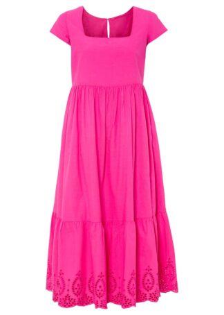 """Sukienka midi z ażurowym haftem bonprix różowy """"pinklady"""""""