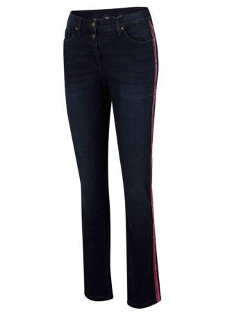 Dżinsy bawełniane ze stretchem z aksamitnymi lampasami i wygodnym paskiem w talii bonprix ciemny denim - czerwony klonowy