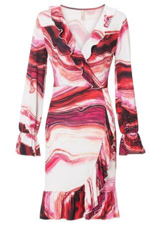 Sukienka z falbanami bonprix biel wełny - pomarańczowo-różowy z nadrukiem