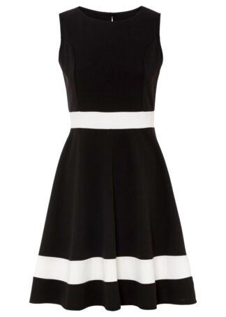 Sukienka bonprix czarno-biel wełny