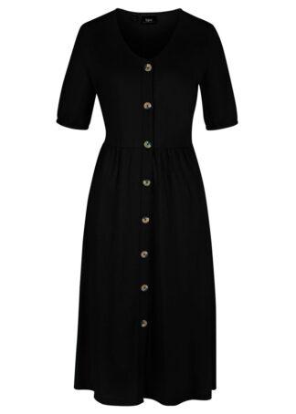 Sukienka bawełniana z plisą guzikową bonprix czarny