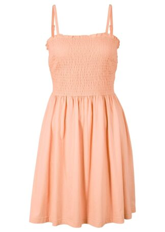 Sukienka z dżerseju na regulowanych ramiączkach bonprix brzoskwiniowy