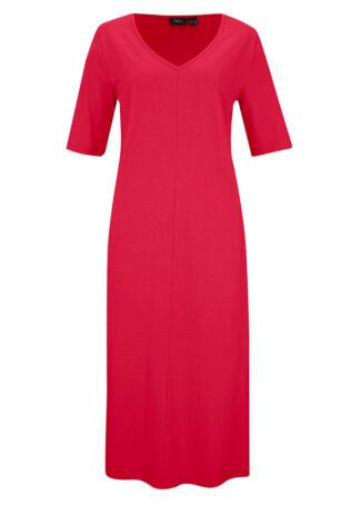 Sukienka shirtowa z dekoltem w serek bonprix czerwony