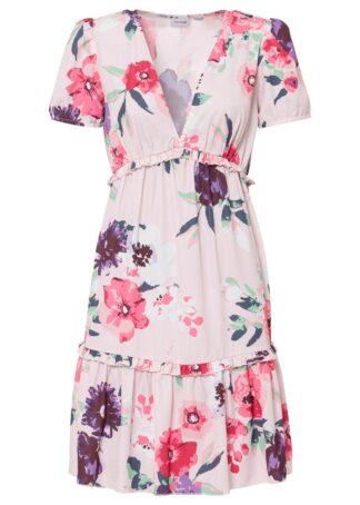 Sukienka z rękawami bufkami i falbanami bonprix pastelowy jasnoróżowy w kwiaty