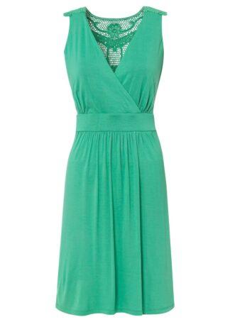 Sukienka z dżerseju z koronką bonprix jasnozielony