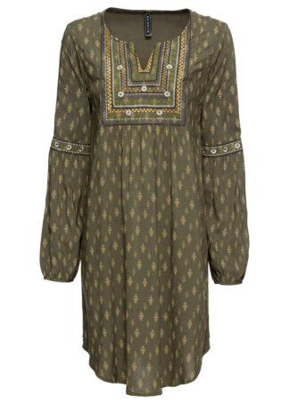 Sukienka z haftem bonprix ciemnooliwkowy z nadrukiem