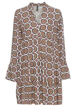 Rozkloszowana sukienka bonprix biało-brązowo-naturalny wzorzysty