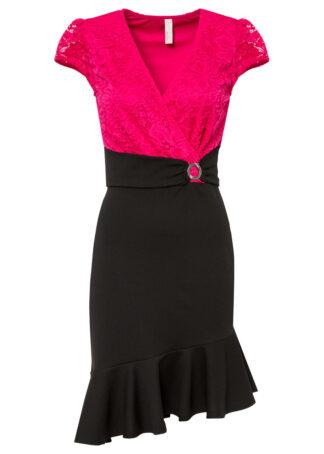 Sukienka z falbanami bonprix różowo-czarny