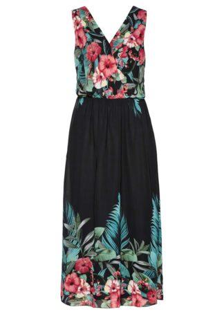 Sukienka maxi z nadrukiem bonprix czarno-jasnoczerwony z nadrukiem