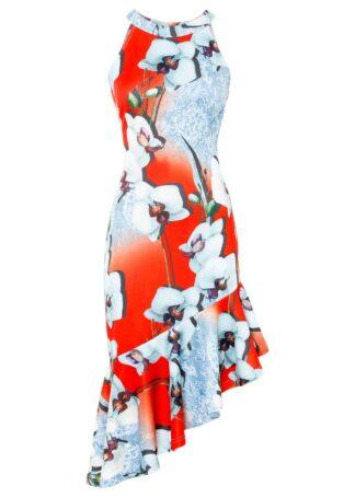 Sukienka z dekoltem halter bonprix czerwono-biały w kwiaty